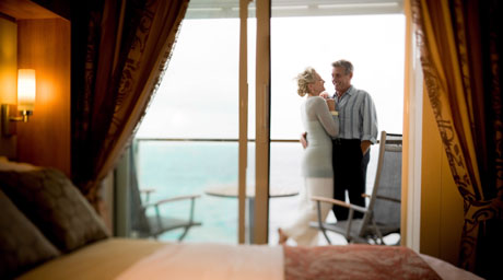 Spacious staterooms located throughout the ship, each with its own private veranda. Decks 8 & 9, forward and aft.