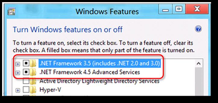 Checking .NET framework 4.5 (or later) - Screenshot