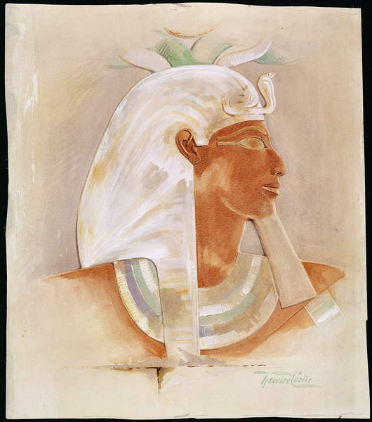 Image of Head of Queen Makare Hatshepsut (c.1503-1482 BC) (w/c on paper), Carter, Howard (1873-1939) / English, Private Collection, © The Stapleton Collection / Bridgeman Images
