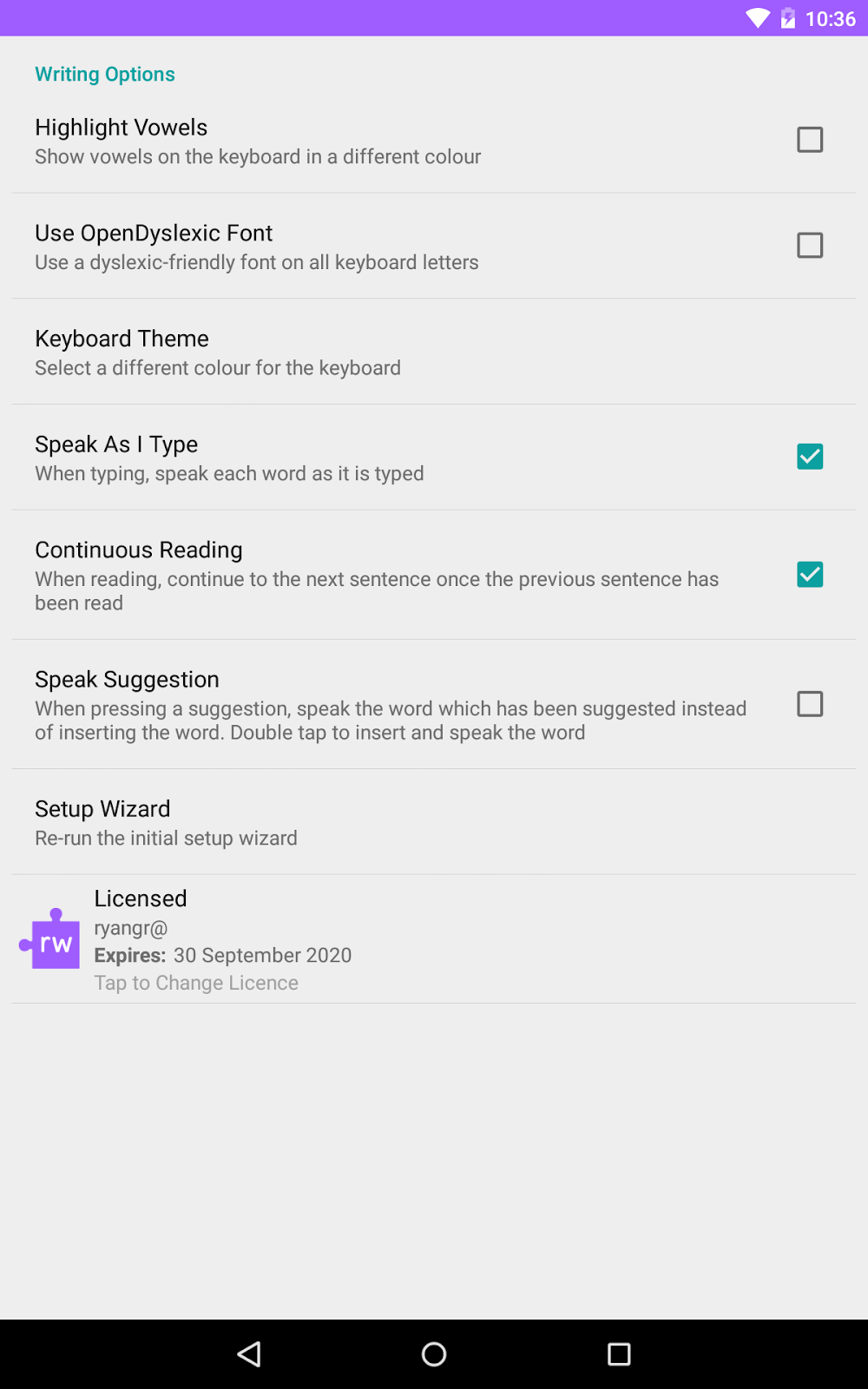 Read&Write for Android settings screen