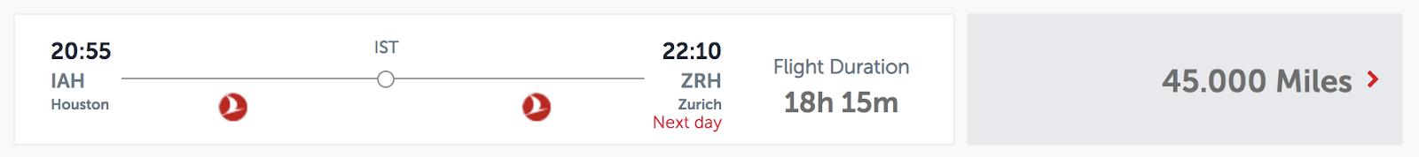 Flight from Houston to Zurich