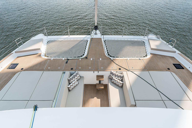 Relax zone on the sailing catamaran Sunreef 50