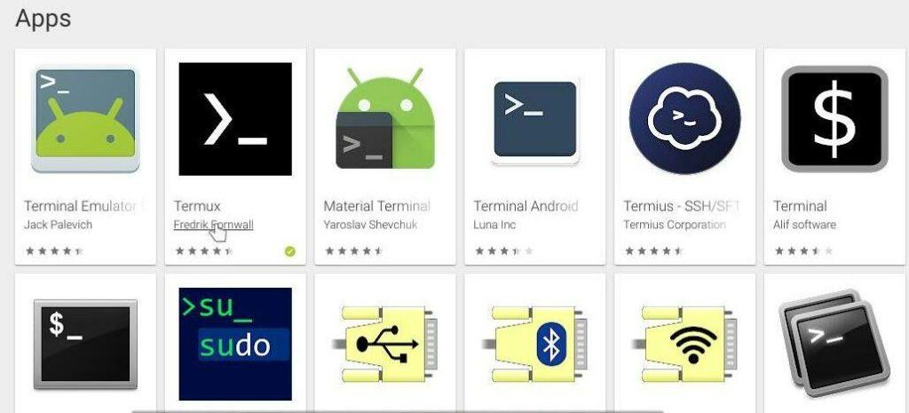 Google playstore showing the list of terminlas