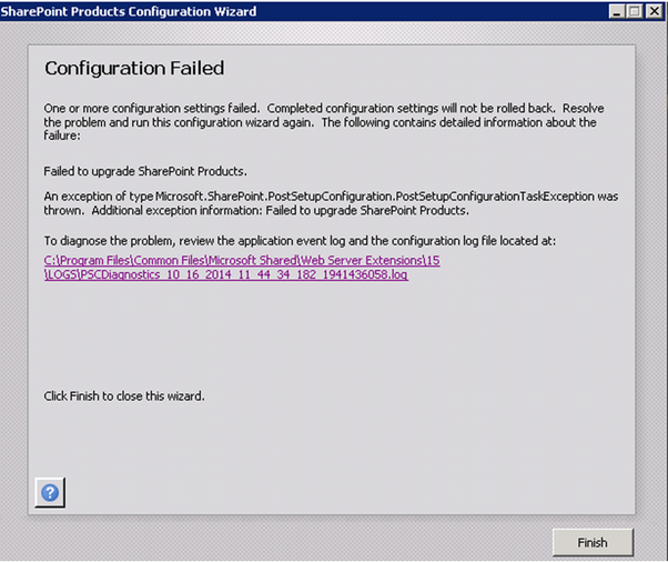 SharePoint products configuration wizard failed