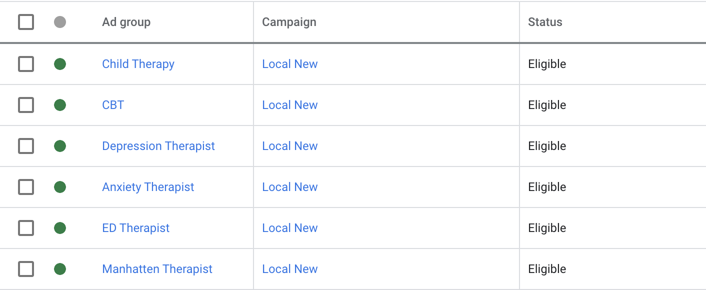 google ads Ad groups for therapist campaign