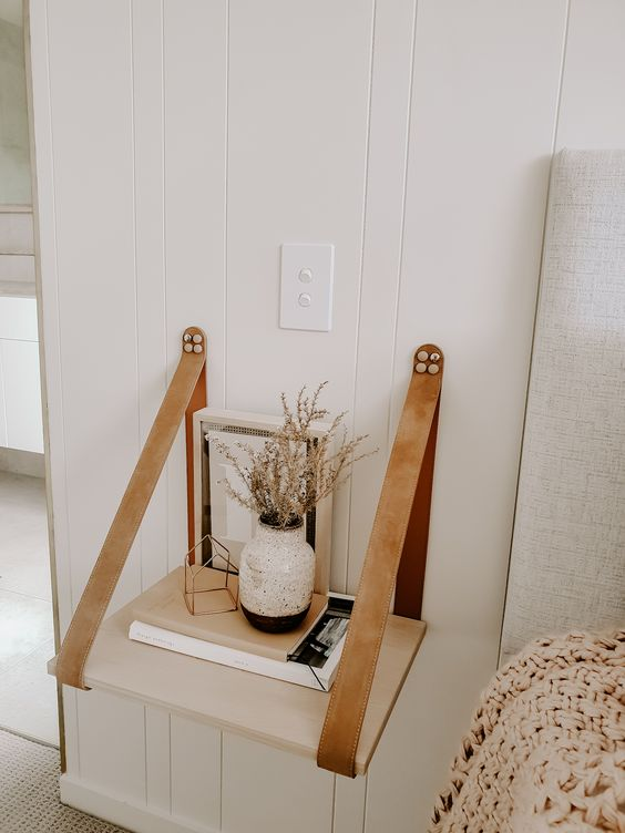Biscuit Leather Strap Bedside Table