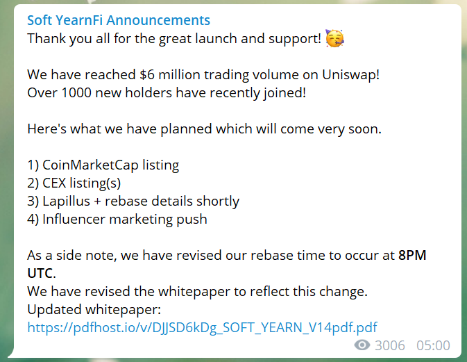 Soft YearnFi's post-launch announcement