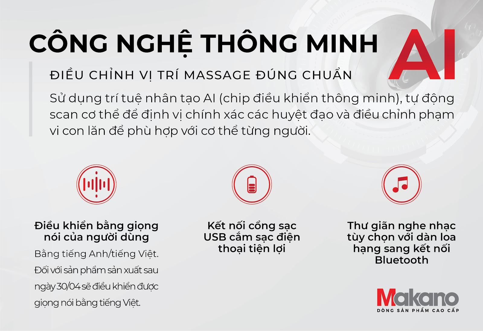 Công nghệ AI ghế massage Makano MKGM-20002