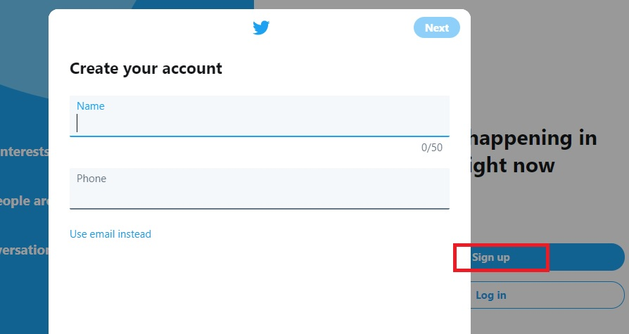 screenshot of Twitter showing where to enter your name and phone number