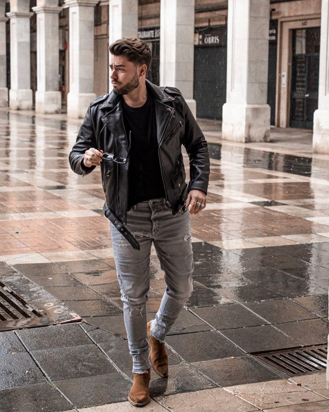 Leather jacket in rain