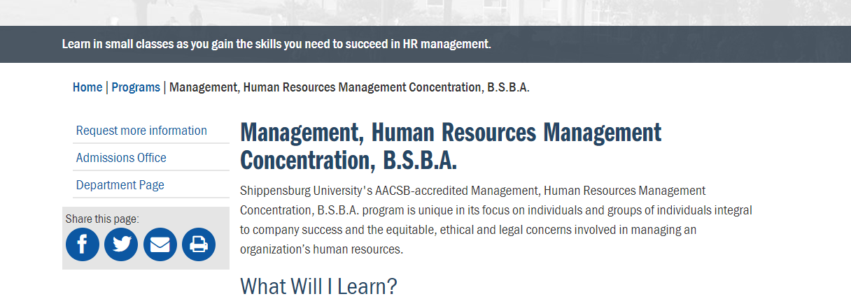 BSBA in Human Resource Management [Shippensburg University]