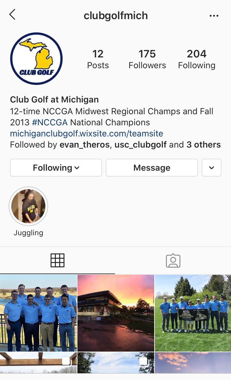 Michigan College Golf Instagram