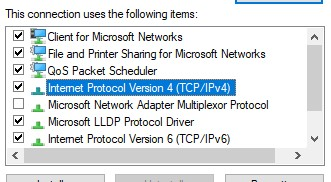 The IPV4 (TCP/IPV4) option for a network
