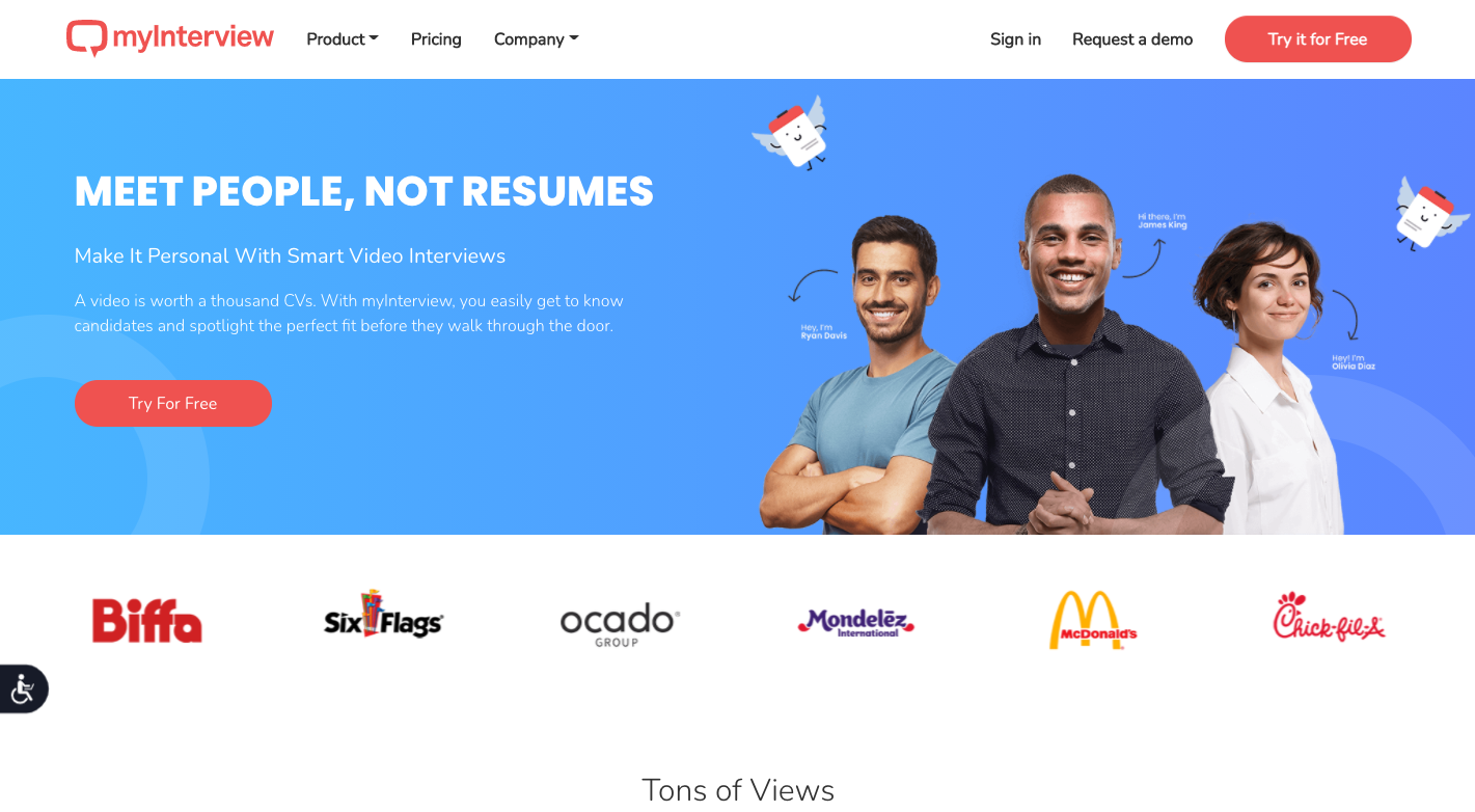 myInterview is one of the top video interview software and candidate screening tool for recruiting agencies.