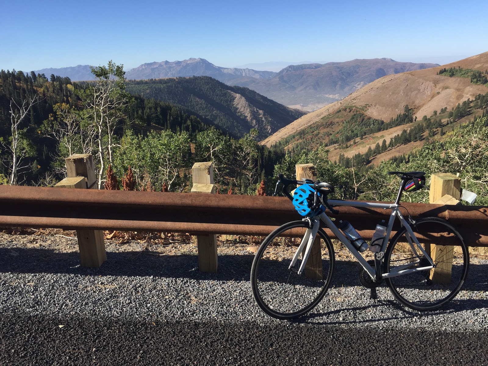 Bike at top of powder mountain climb by bike