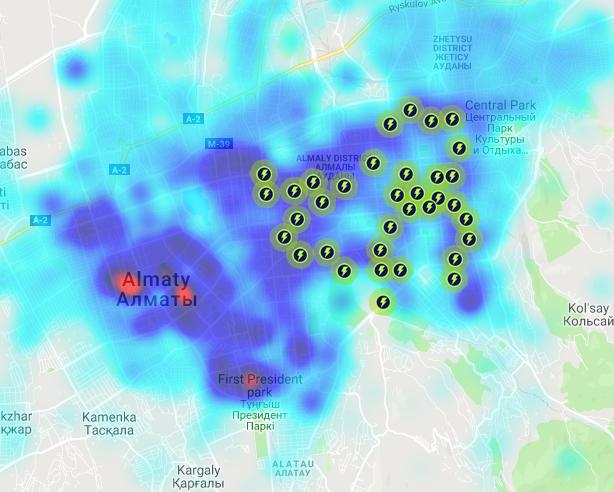 Станции Ozim Scooters расположены так, что повторяют распределение плотности населения. Но станции не установлены там, где работает или отдыхает много людей. Карта Ербола Султанбаева для блюскрин.кз