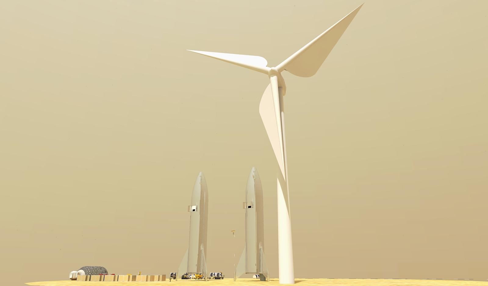 Mars wind turbines