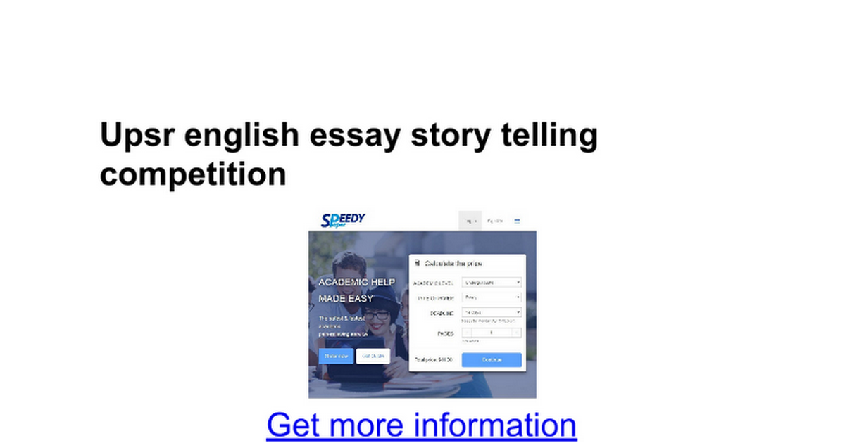 Upsr English Essay Story Telling Competition  Google Docs