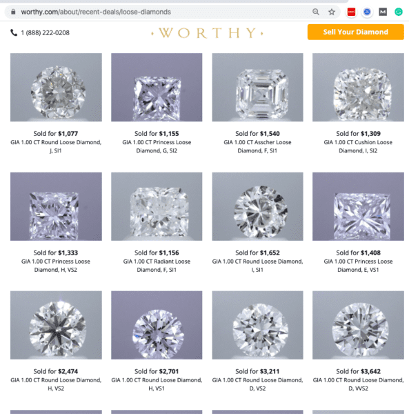 How much you can get to resell 1 carat diamond online.