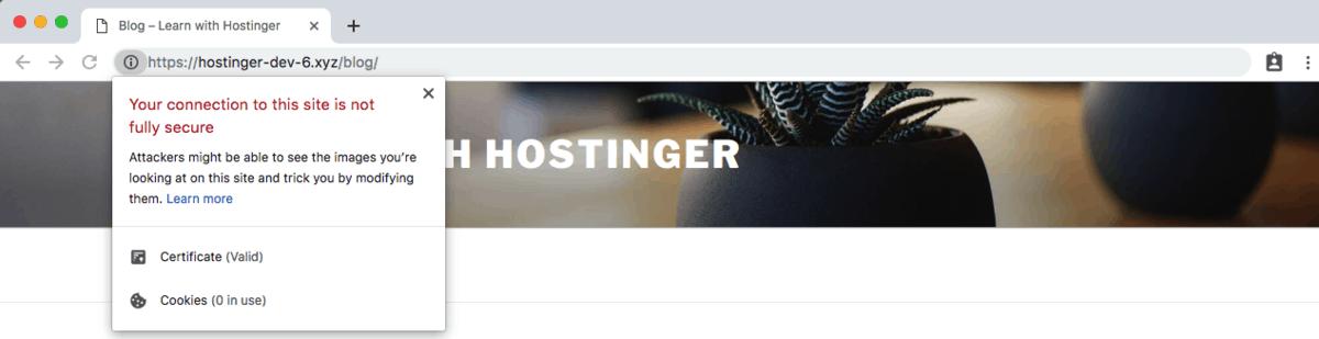 aviso de conteúdo misto Chrome
