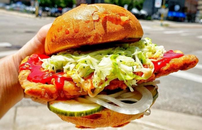 chicken sandwich from Zen Box Izakaya in Minneapolis