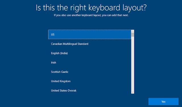 اختيار لغة لوحة المفاتيح