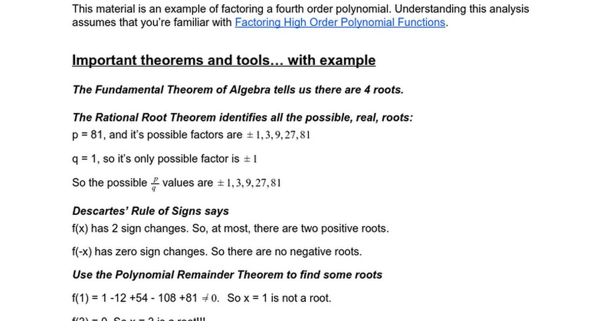 Factoring Perfect Quartic Polynomials Google Docs
