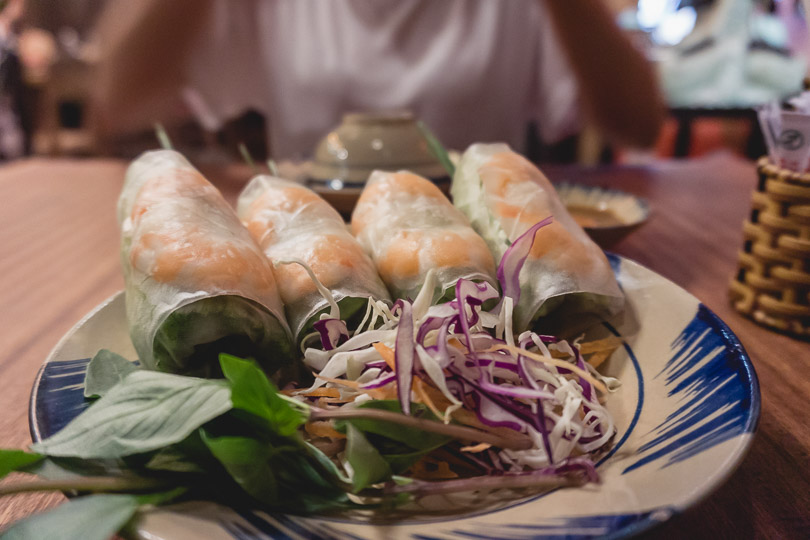 Goi Cuon, spring rolls, is a must eat dish found in restaurants around District 1 in Ho Chi Minh City.