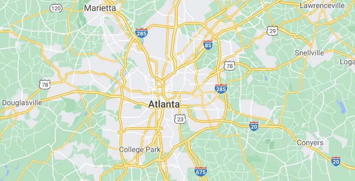 map of Atlanta and surrounding area