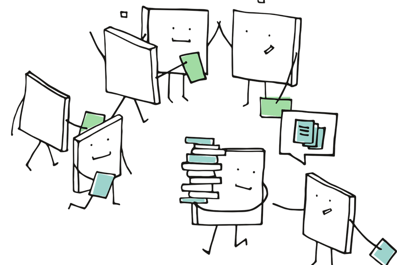 A group of books learning together