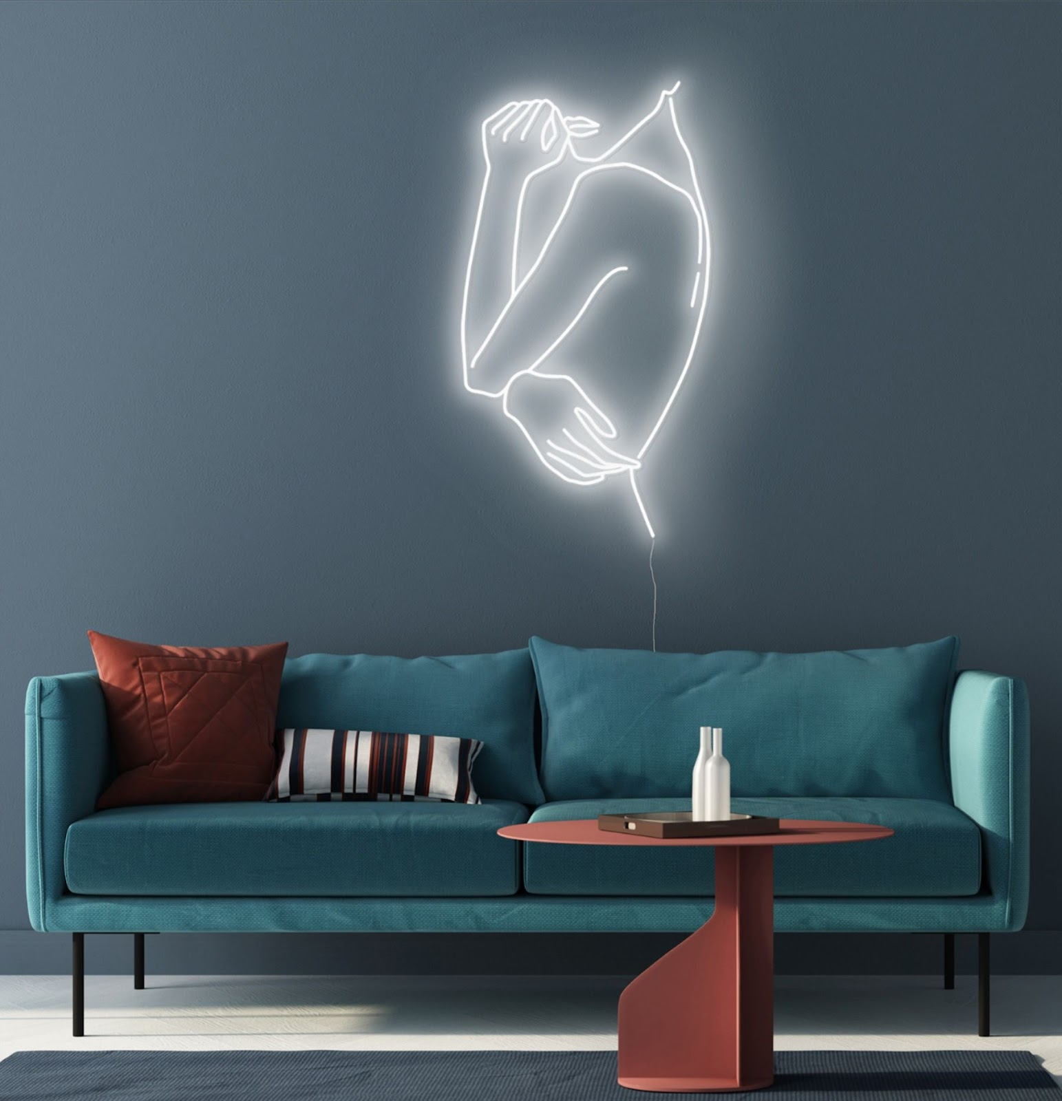 Glow in Neon Living Room Wall Decor