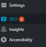 """WordPress settings list, with """"SEO"""" highlighted."""