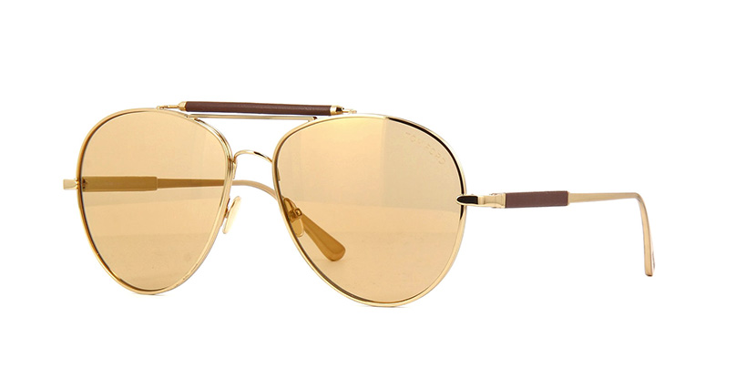 Tom Ford Private Collection No.16 30H Photochromic Gold Plated and Brown  Leather Brown with Gold Mirror Photochromic Sunglasses | Pretavoir