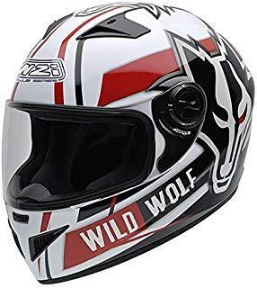 NZI 150200G607 Must Wild Wolf Casco de Moto, Color Blanco, Negro y Rojo, Talla 58-59 (L)