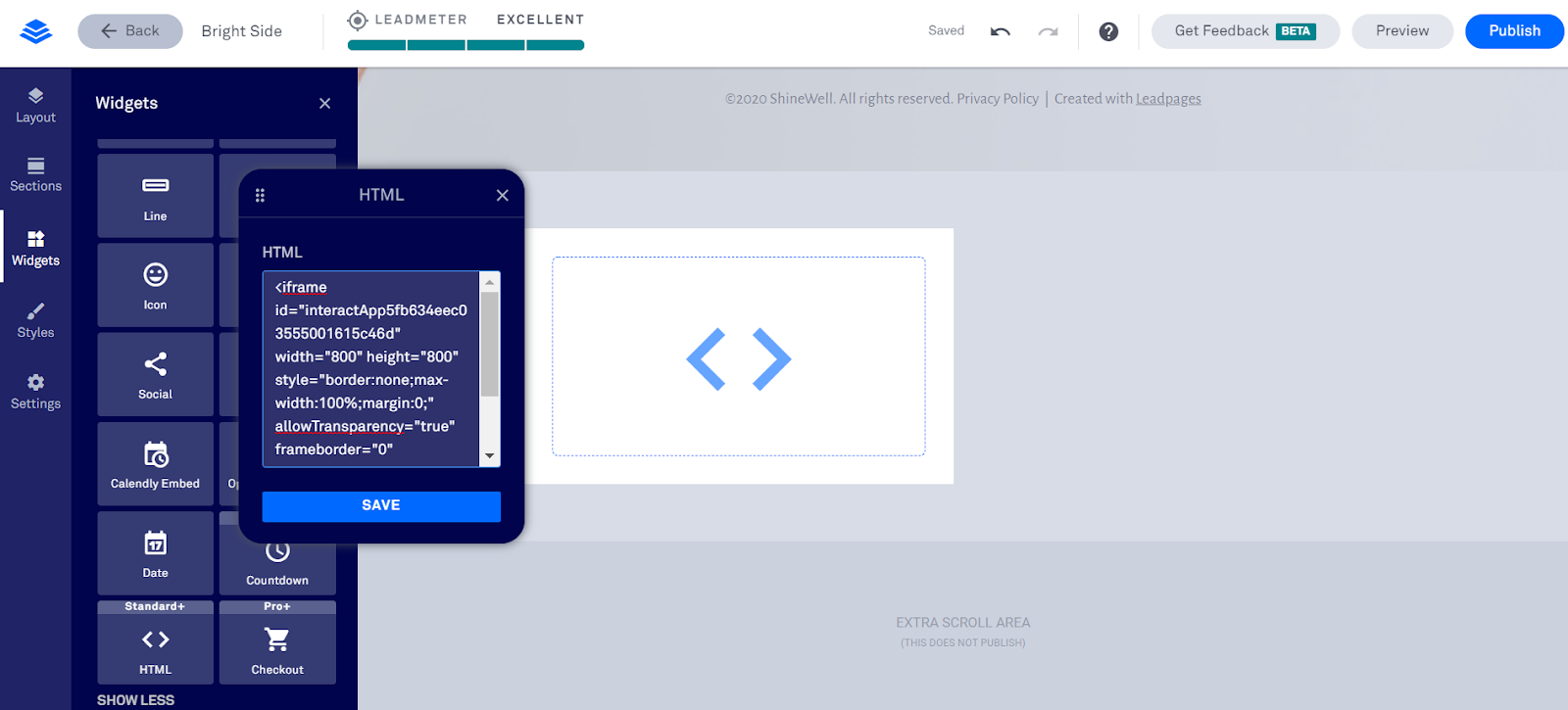 pasting embed code in Leadpages