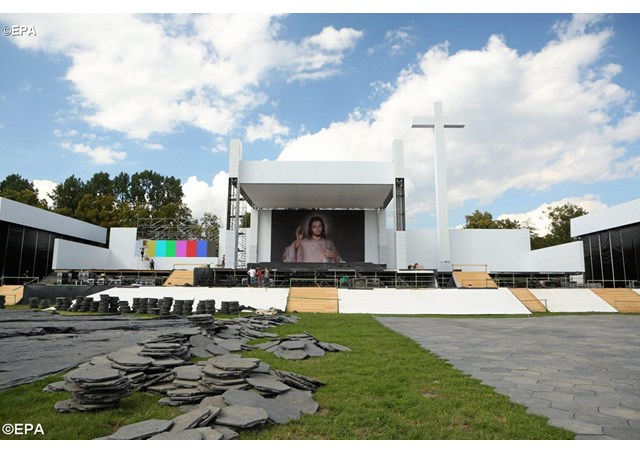 Special altar as well as technical infrastructure is being set up for the upcoming World Youth Day 2016 - EPA