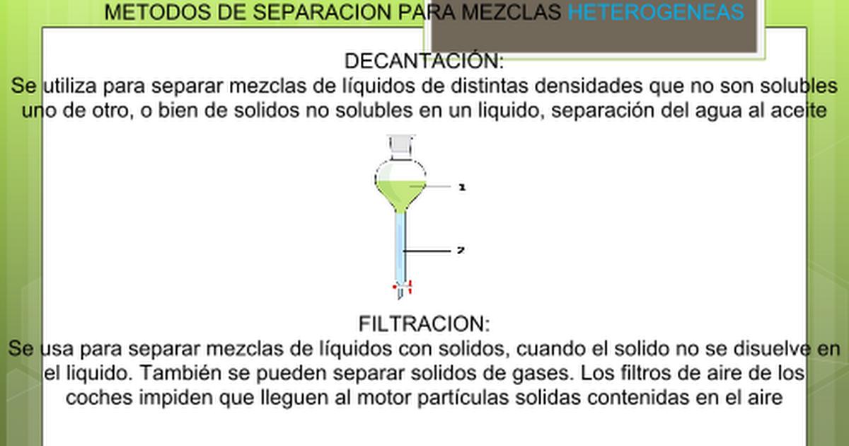 Metodos De Separacion De Las Mezclas Pptx Google Slides