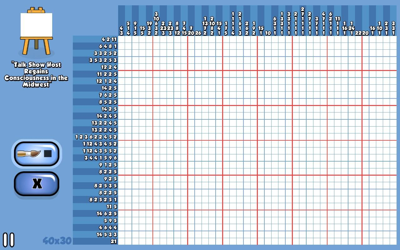 "A grid puzzle 40 squares across and 30 squares high, against a blue background. The puzzle is called, ""Talk Show Host Regains Consciousness in the Midwest."""