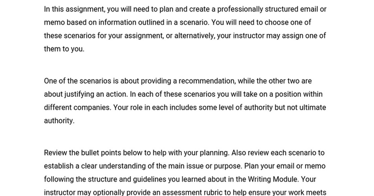 memo assignment 11201 gateway effective professional writing: the memo sample assignment + response task: offer analysis and recommendations to linda griego, new head of rebuild la, in a decision.