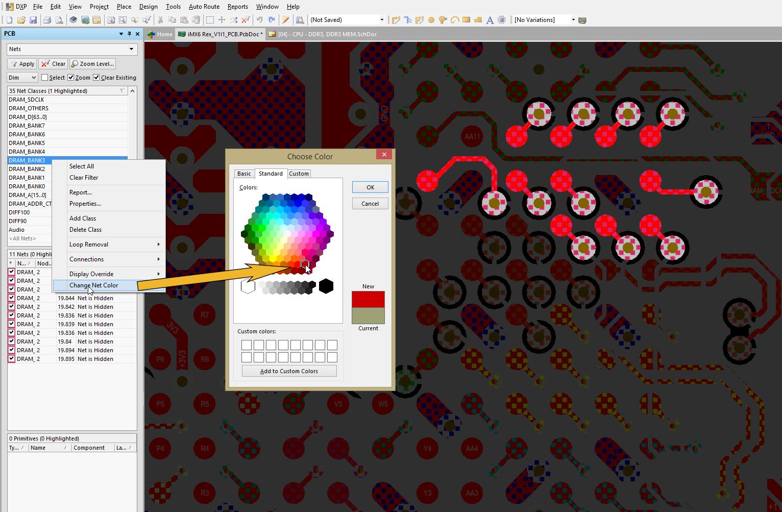 ddr3 interface example Figure 3 : Attribuer une couleur différente à chaque groupe permet de suivre plus facilement le routage de la mémoire DDR3.