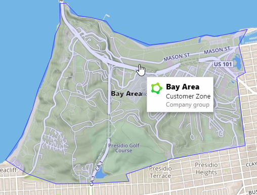 MyGeotab map with customer zone