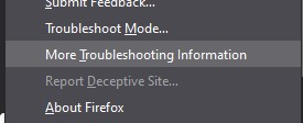 Select More Troubleshooting Information from the sub-menu