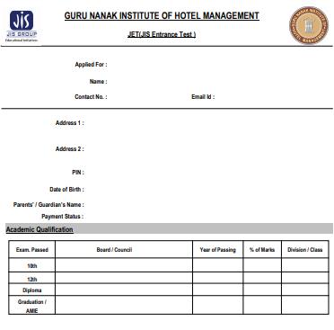 GNIHM JET 2021 Printed Application Form