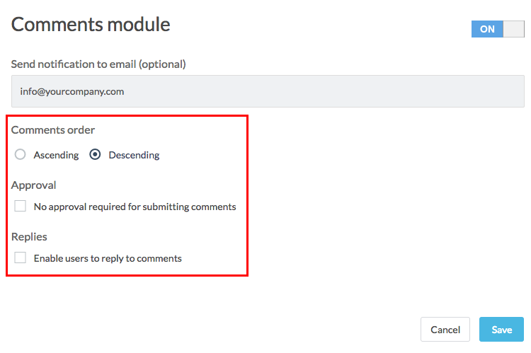 comments module with comments order options highlighted