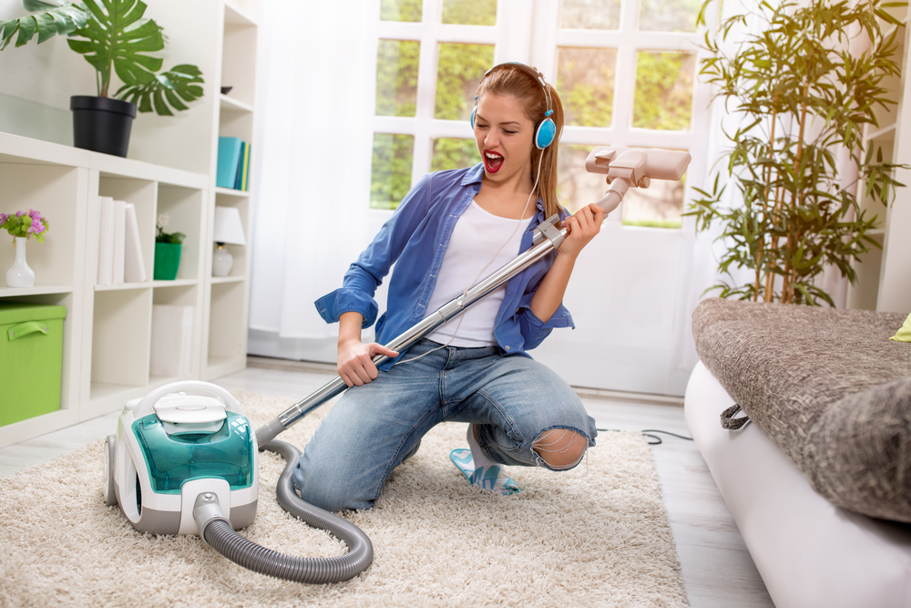 Vacuuming doesn't have to be a boring chore, add some exercise to your routine to improve your physical health  Source: vacuum360.com