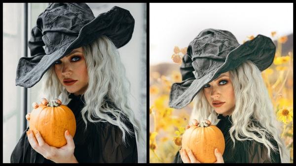 antes e depois da foto de uma mulher vestida de bruxa sendo que uma foto ela está num campo de girassóis e na outra não