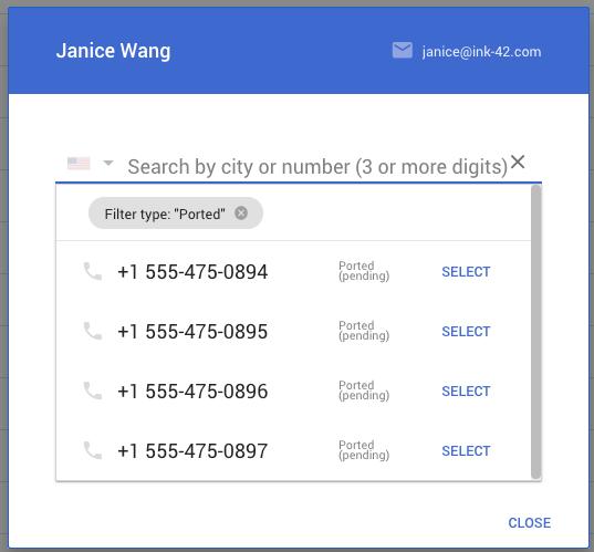 Asignacion número Google Voice