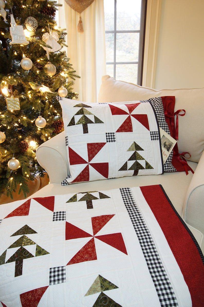 An Evergreen Christmas Quilt and Pillow Sham