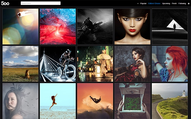 500px New Tab chrome extension