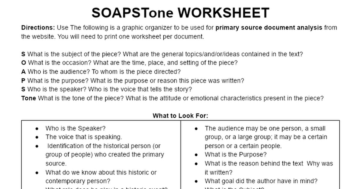 soapstone worksheet google docs - Soapstone Worksheet